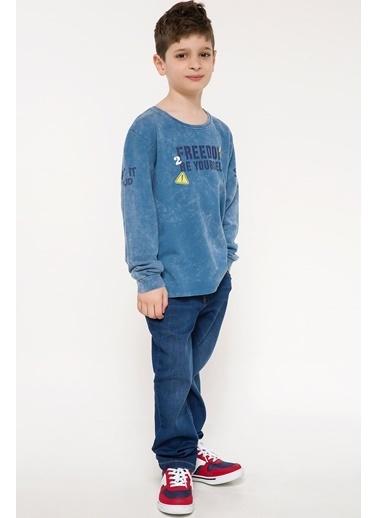 DeFacto Yazı Baskılı Sweatshirt Mavi